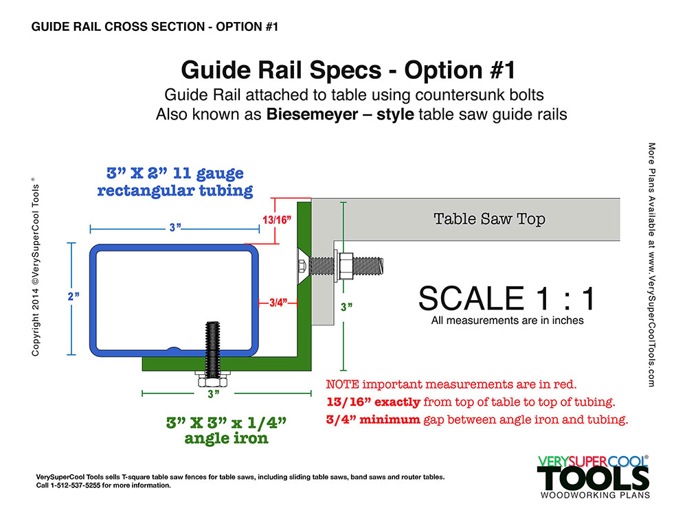 Drawing showing exact spacing requirement for making your own table saw guide rails.